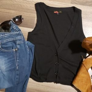 Long Button Down Black Knitted Vest